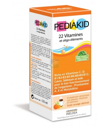 Pediakid 22 Vitamines et oligo-éléments Goût Orange Abricot 125 ml