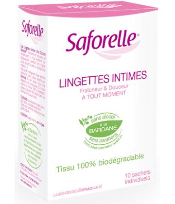 Saforelle Lingettes Intimes Sachets Individuels x 10