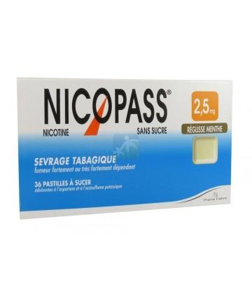 Nicopass 2,5 mg Pastilles Réglisse Menthe x 36