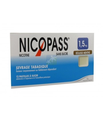 nicopass 1 5mg 12 pastilles r glisse menthe sevrage tabagique. Black Bedroom Furniture Sets. Home Design Ideas