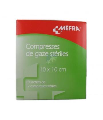 3M Méfra Compresses de Gaze Stériles 10 x 10 cm x 10