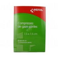 3M Méfra Compresses de Gaze Stériles 7,5 cm x 7,5 cm x 50