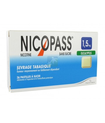 Nicopass 1,5 mg Pastilles Eucalyptus x 36
