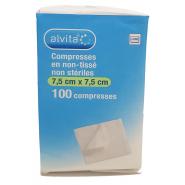 Alvita Compresses Non-Tissées Non Stériles  7,5 cm x 7,5 cm x 100