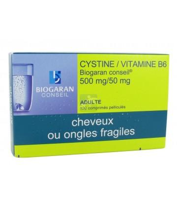 Cystine/Vitamine B6 Biogaran 500 mg/50 mg x 120