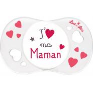 """Luc et Léa Sucette Silicone Symétrique + 6 mois """"J'aime ma Maman"""""""