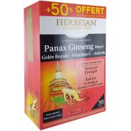 Herbesan Ginseng + Gelée royale + Acérola + Vitamine C 50% OFFERT 30 ampoules