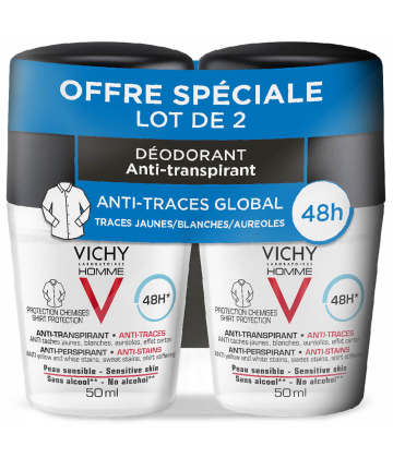 Vichy Homme Déodorant Bille Anti-trace Peau Sensible 48h 2 x 50 ml