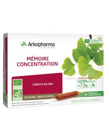 ArkoFluides Ginkgo Biloba Mémoire et Concentration Bio x 20