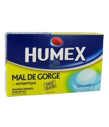 Humex Gorge Pastilles Menthe Sans Sucre x 24