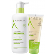 Aderma Xera-Mega Confort Crème Nutritive Anti-Dessèchement 400 ml + Gel Douche Surgras 100 ml OFFERT
