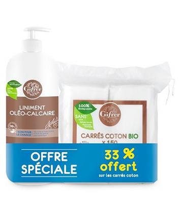 Gifrer Liniment Oléo-Calcaire 900 ml + Carré de Coton Bio x 150