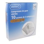 Alvita Compresses stériles de gaze 7,5 x 7,5 cm x 10
