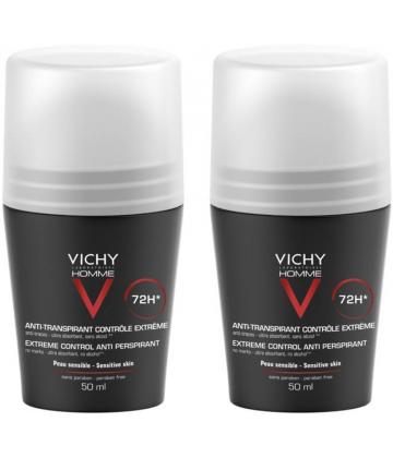 Vichy Homme Déodorant Bille Contrôle Extrême 72h 2 x 50 ml
