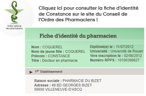 Constance Coquerelle Fiche d'identité CNOP