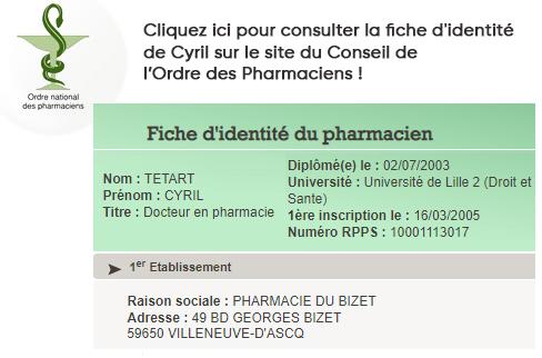 Cyril Tétart Fiche d'identité CNOP